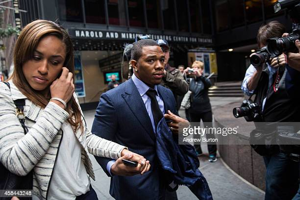 Suspended Baltimore Ravens football player Ray Rice and his wife Janay Palmer arrive for a hearing on November 5, 2014 in New York City. Rice is...