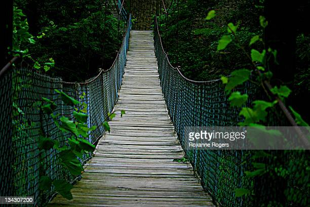 suspended bridge in galesville, wisconsin - staadts,_wisconsin stock pictures, royalty-free photos & images
