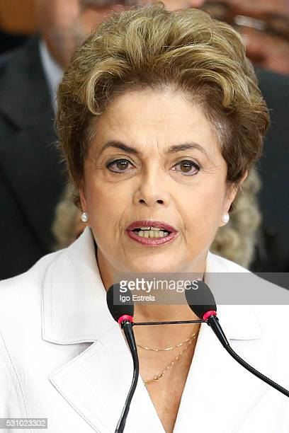 Suspended Brzilian President Dilma Rousseff speaks to supporters at the Planalto presidential palace after the Senate voted to accept impeachment...