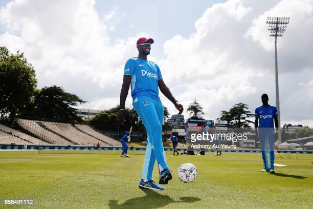 Suspended captain Jason Holder of the West Indies during warm up session prior to day one of the second Test match between New Zealand and the West...