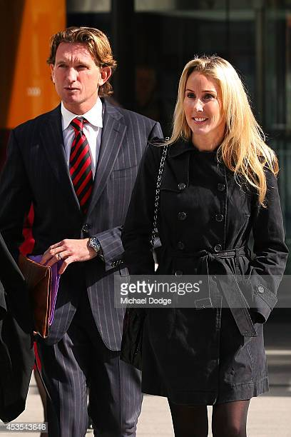 Suspended Essendon Bombers coach James Hird leaves for a break with wife Tania Hird at the Supreme Court during the case looking into the AFLASADA...