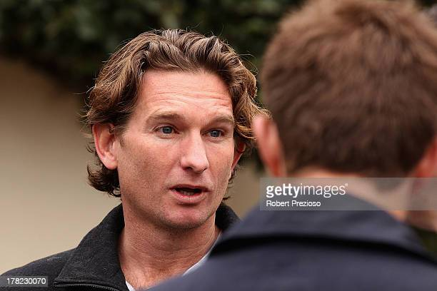 Suspended Essendon Bombers coach James Hird speaks to the media during a press conference outside his family home on August 28 2013 in Melbourne...