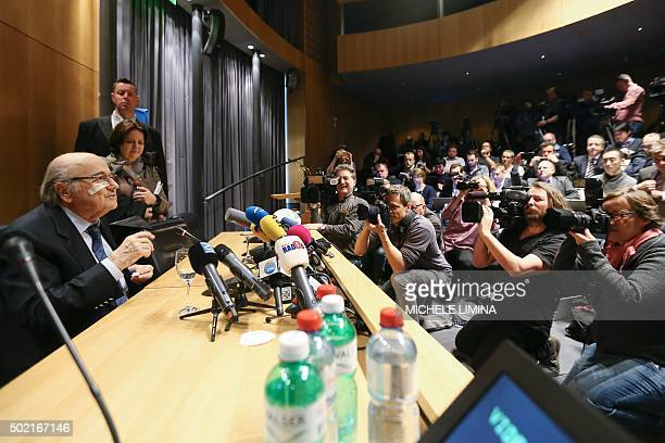 Suspended FIFA president Sepp Blatter holds a press conference on December 21 2015 in Zurich after the world's football governing body announced its...