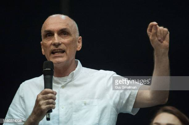 Suspended Labour MP Chris Williamson makes a speech about democratising the Labour Party and the economy at the Marxism Festival on July 5 2019 in...