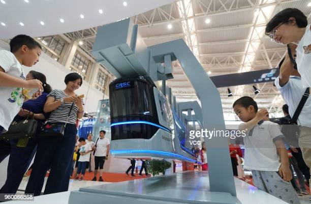 CRSE suspended monorail train is on display at World Intelligence Expo as part of the 2nd World Intelligence Congress on May 19 2018 in Tianjin China...