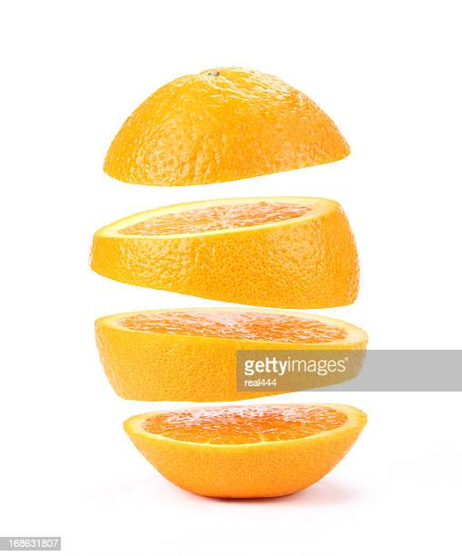 suspended orange - cross section stock pictures, royalty-free photos & images