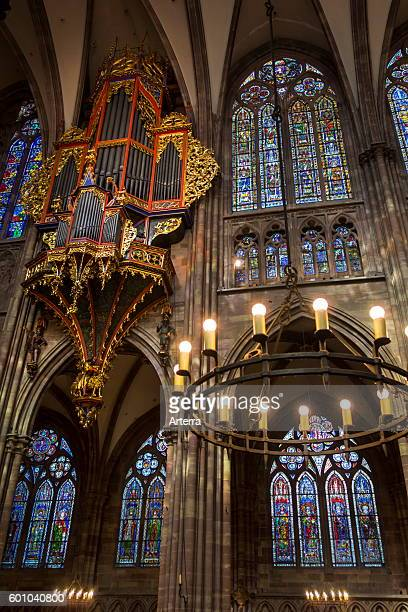 Suspended pipe organ and stained glass windows in the Cathedral of Our Lady of Strasbourg / Cathedrale NotreDame de Strasbourg Alsace France