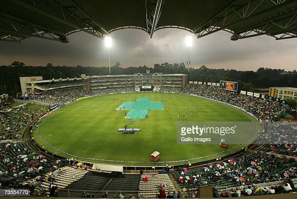 Suspended Play Due to Rain During a Cricket Game