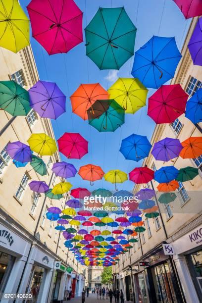 suspended umbrellas at SouthGate Bath