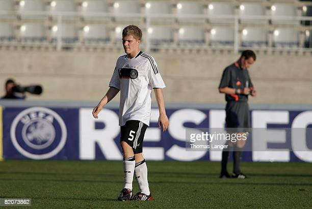 Suspended with the red card, Florian Jungwirth of Germany leaves the pitch during the U19 European Championship final match between Germany and Italy...
