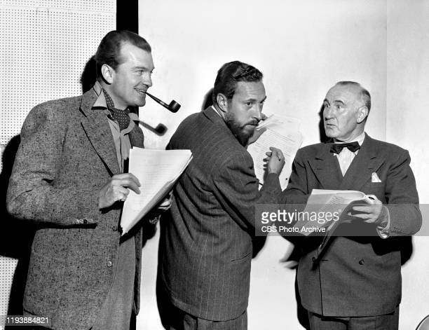Suspense, a CBS Radio crime anthology program. Episode: Banquo's Chair. Left to right: John Loder, William Spier , Donald Crisp, August 7, 1944....