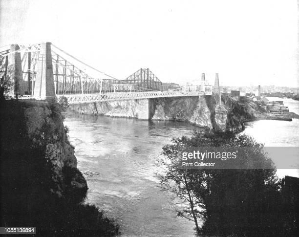 Suspension and Cantilever Bridges, St John, New Brunswick, Canada, circa 1900. Bridges over the Reversing Falls, a series of rapids on the Saint John...