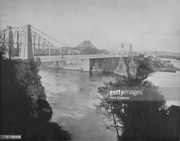 Suspension and Cantilever Bridges, St. John, New Brunswick', circa 1897. The first Reversing Falls Suspension Bridge across the Saint John River was...