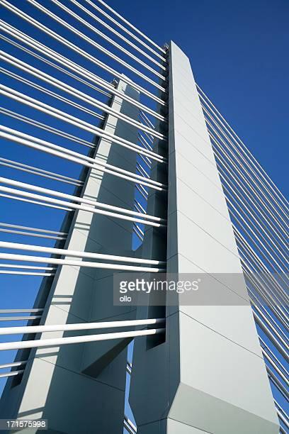 Pont suspendu sur le ciel bleu