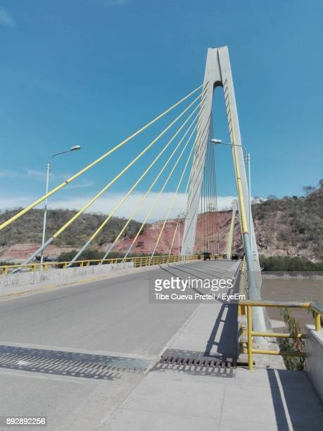 Suspension Bridge Against Clear Blue Sky