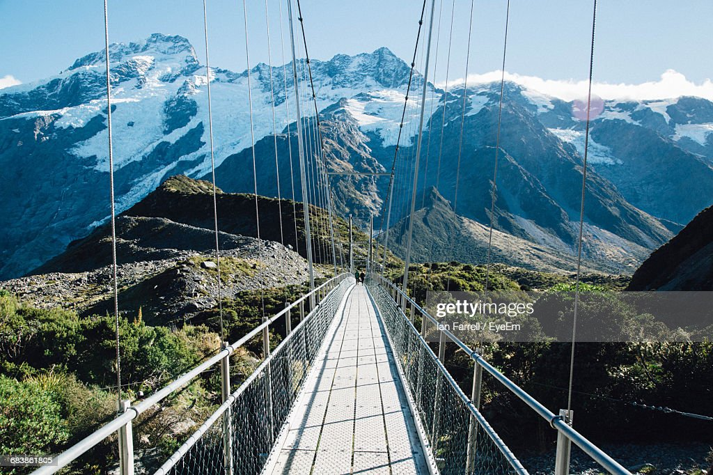 Suspension Bridge Against Mount Cook At Hooker Valley Track : Stock Photo