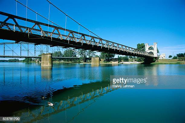 suspension bridge over brazos river - waco stock pictures, royalty-free photos & images