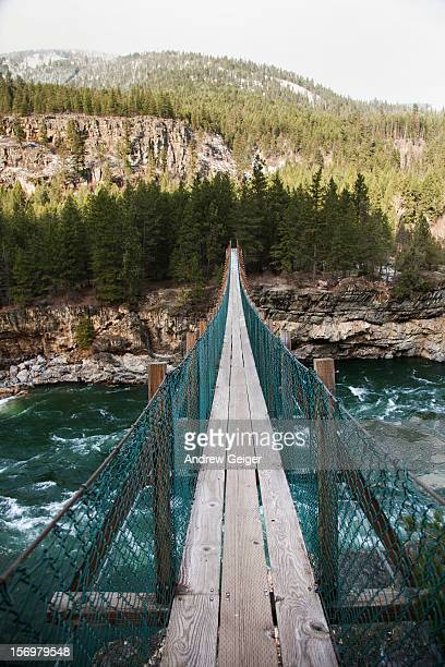 POV of suspension bridge over river.