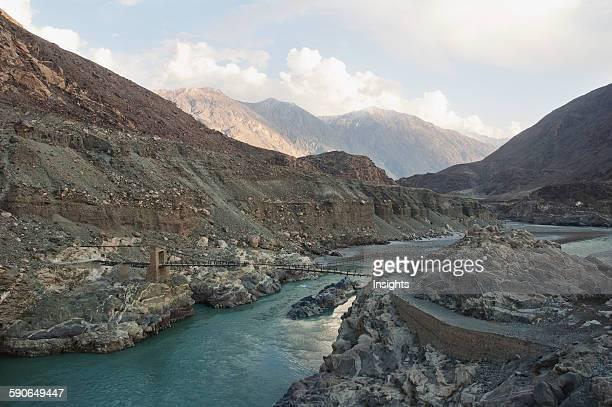 Suspension Bridge Over The Indus River Gorge, Skardu, Northern Areas, Pakistan.