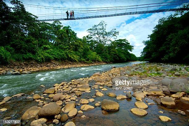 suspension bridge, sarapiqui river, costa rica - turismo ecológico fotografías e imágenes de stock