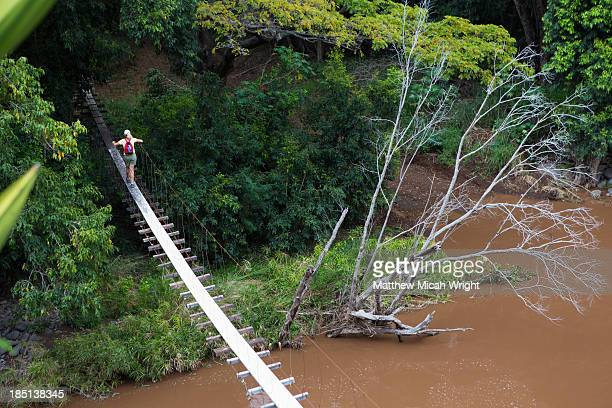 a suspension bridge spans the river. - waimea canyon stock pictures, royalty-free photos & images