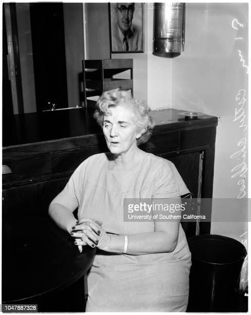 Suspicion of stabbing her husband 30 December 1957 Esther Childress 51 yrs Caption slip reads 'Photographer Mitchell Date Reporter Benson Assignment...