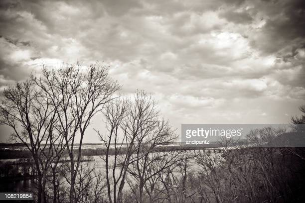 Susquehanna River From Hill on Cloudy Day, Black and White