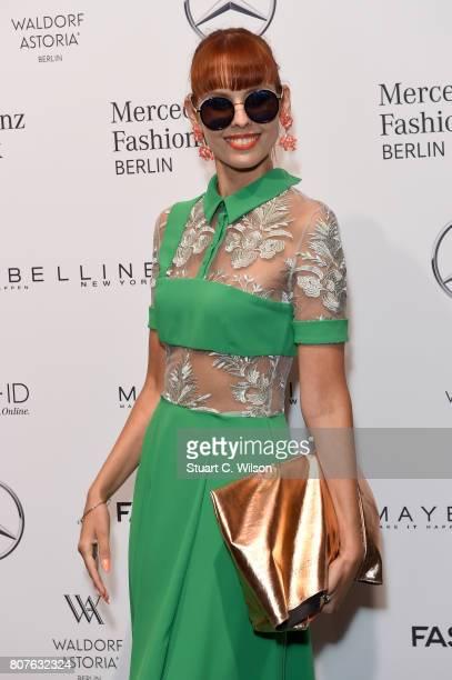 Sussan Zeck attends the Lena Hoschek show during the MercedesBenz Fashion Week Berlin Spring/Summer 2018 at Kaufhaus Jandorf on July 4 2017 in Berlin...
