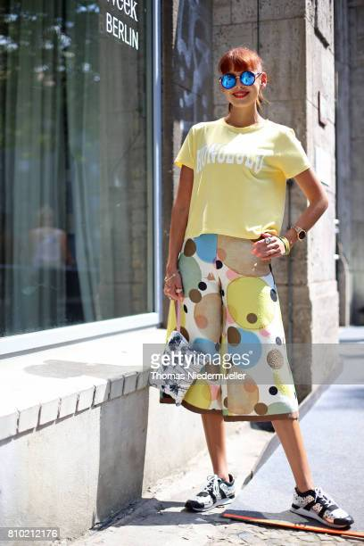 Sussan Zeck poses during the MercedesBenz Fashion Week Berlin Spring/Summer 2018 at Kaufhaus Jandorf on July 7 2017 in Berlin Germany