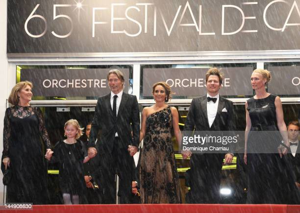 Susse Wold Mads Mikkelsen Alexandra Rapaport Thomas Vinterberg and Sisse Graum Jorgensen attend the 'Jagten' Premiere during the 65th Annual Cannes...