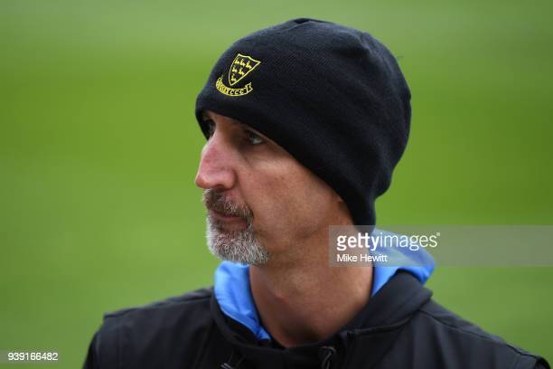 Sussex 1st team coach Jason Gillespie wears his new County beanie during a Sussex CCC photocall at The 1st Central County Ground on March 28 2018 in...