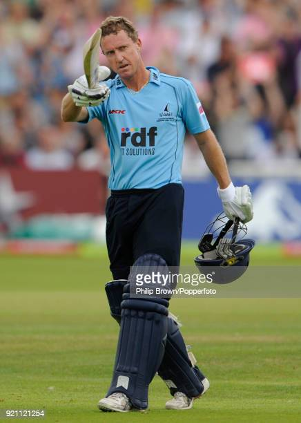 Sussex batsman Murray Goodwin celebrates reaching fifty runs during the Twenty20 Cup Semi FInal between Northamptonshire and Sussex at Edgbaston...
