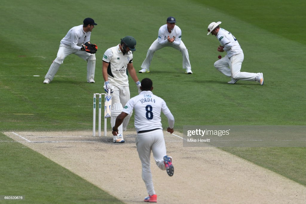 Sussex captain Chris Nash at second slip fails to hold on to a chance offered by Ross Whiteley of Worcestershire off the bowling of Chris Jordan during the fourth day of the Specsavers County Championship Division Two match between Sussex and Worcestershire at The 1st Central County Ground on June 5, 2017 in Hove, England.