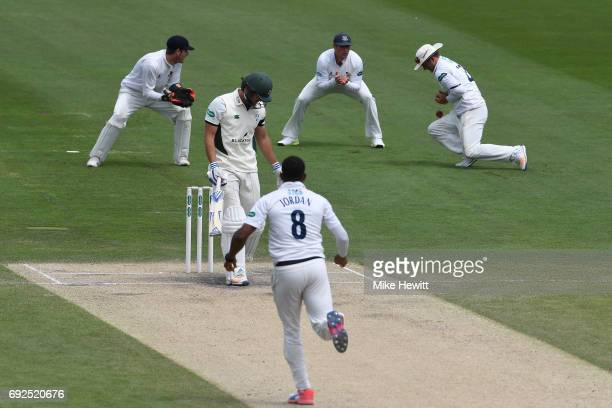Sussex captain Chris Nash at second slip fails to hold on to a chance offered by Ross Whiteley of Worcestershire off the bowling of Chris Jordan...