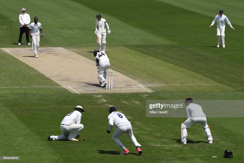 Sussex captain Chris Nash at second slip fails to hold on to a chance offered by Ross Whiteley of Worcestershire off the bowling of Jofra Archer during the fourth day of the Specsavers County Championship Division Two match between Sussex and Worcestershire at The 1st Central County Ground on June 5, 2017 in Hove, England.