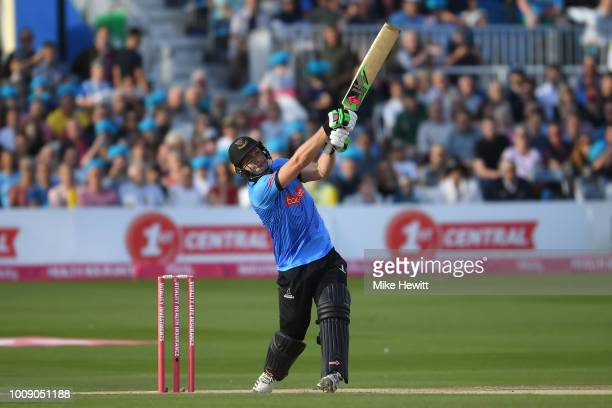 Sussex captain Luke Wright is out for 16 after hitting the ball straight to Andrew Tye of Gloucestershire during the Vitality Blast match between...