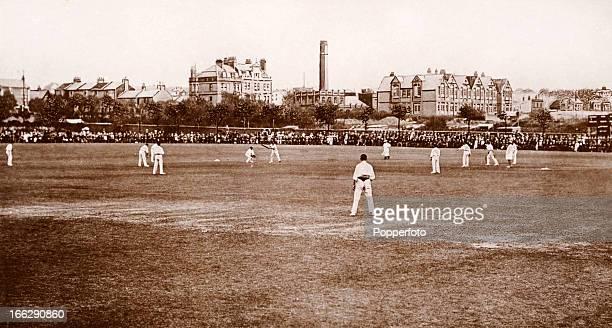 Sussex County cricket team in action at Brighton circa 1907