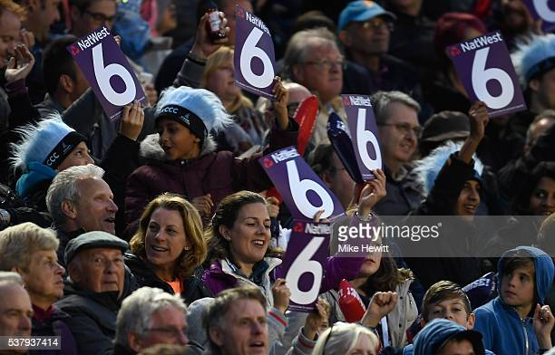 Sussex fans appreciate a Luke Wright six during the NatWest T20 Blast between Sussex and Surrey at the 1st Central County Ground on June 3 2016 in...
