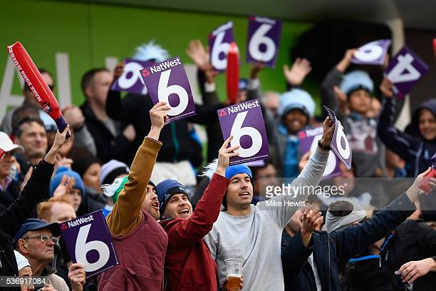 Sussex fans appreciate another Luke Wright boundary during the NatWest T20 Blast between Sussex and Somerset at The 1st Central County Ground on June...