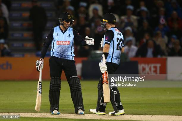 Sussex pair Chris Nash and Stiaan van Zyl during the NatWest T20 Blast match between Sussex Sharks and Surrey at The 1st Central County Ground on...