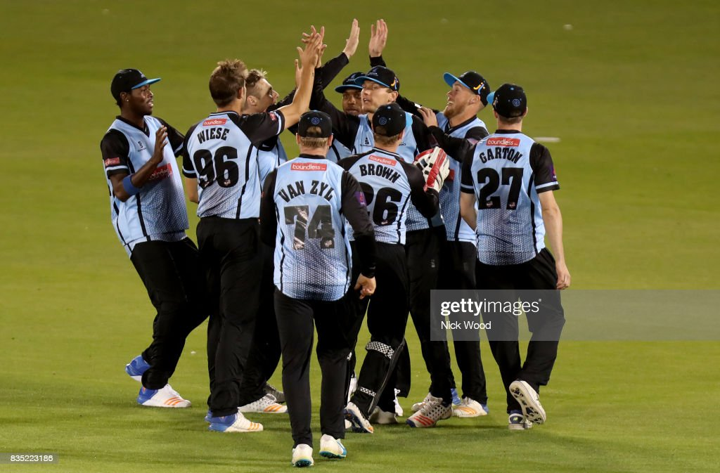 Sussex players celebrate taking the wicket of Dan lawrence during the Sussex v Essex - NatWest T20 Blast (G) cricket match at the 1st Central County Ground on August 18, 2017 in Hove, England.