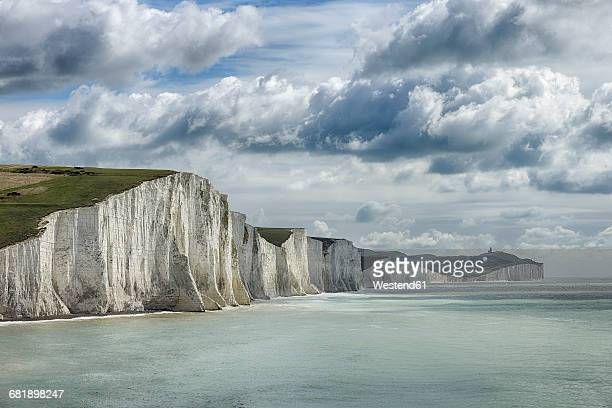 UK, Sussex, Seaford, Seven Sisters Country Park, Seaford Head, view to Seven Sisters Chalk Cliffs