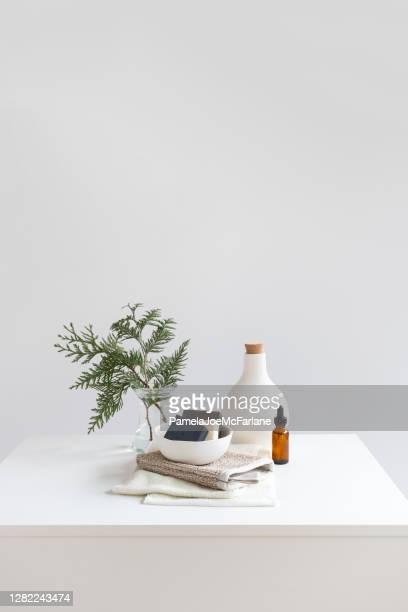 hållbar skönhet - vegan tvålar och aromaterapi olja, återanvändbara fartyg - period bildbanksfoton och bilder