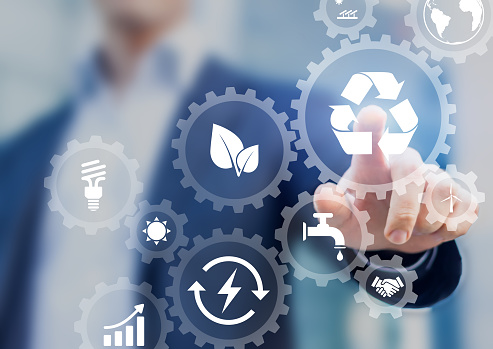 Sustainable development concept on screen with icons of renewable energy 859765108