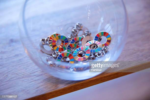 Sustainable Development Goals pins at Goalkeepers 2019 at Jazz at Lincoln Center on September 25 2019 in New York City Goalkeepers is a multiyear...