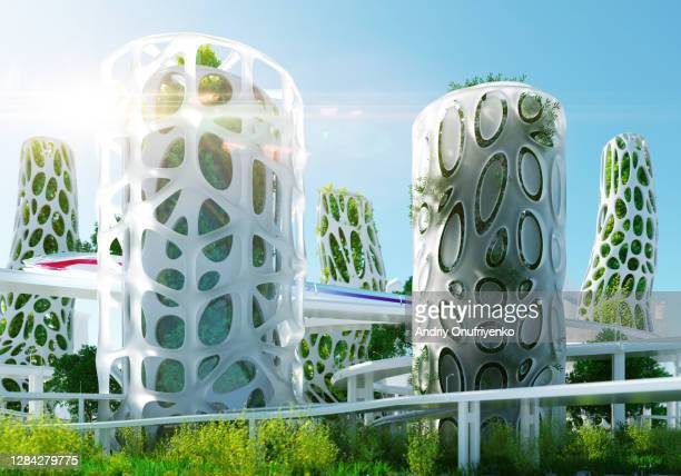 sustainable futuristic architecture - skyscraper stock pictures, royalty-free photos & images
