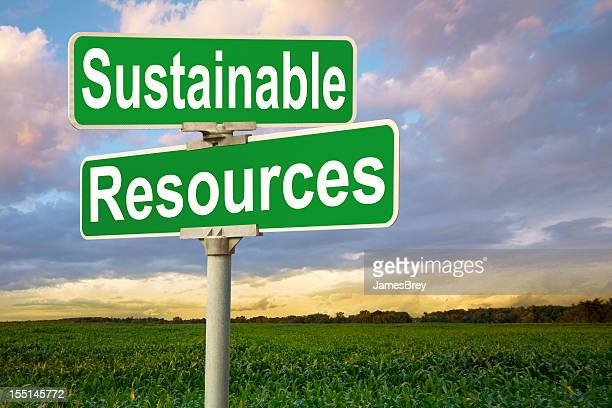 Sustainable Resources Road Sign by Corn Field