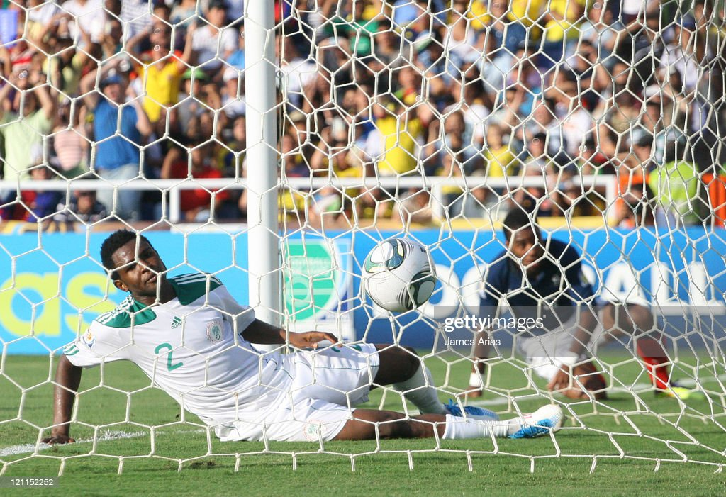 Suswan, from Nigeria, cannot avoid the French goal during a match by quarterfinals of the FIFA U-20 World Cup 2011 at Pascual Guerrero Stadium on August 14, 2011 in Cali, Colombia.