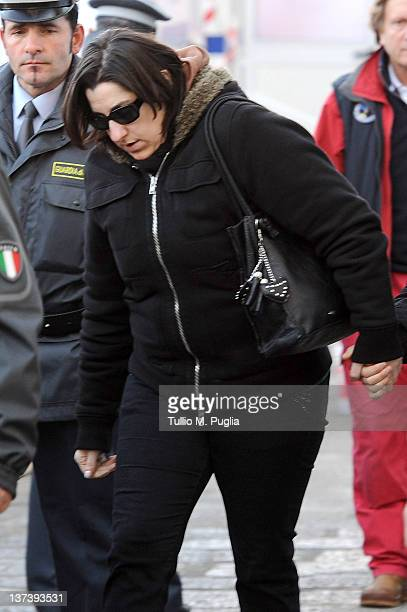 Susy Albertini mother of Dayana Arlotti a 5yearold girl aboard the Costa Concordia who is still missing arrives at the island of Giglio on January 20...