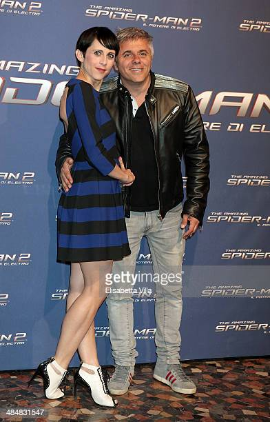 Susy Laude, left, and Dino Abbrescia attend 'The Amazing Spider-Man 2: Rise Of Electro' Rome Premiere at The Space Moderno Cinema on April 14, 2014...